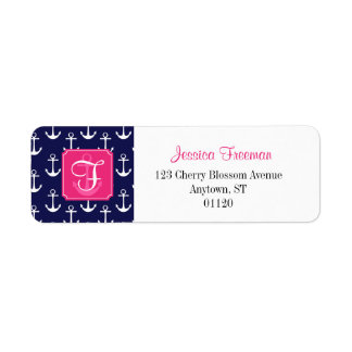 Modern Navy Blue Anchors Pattern Personalized Label