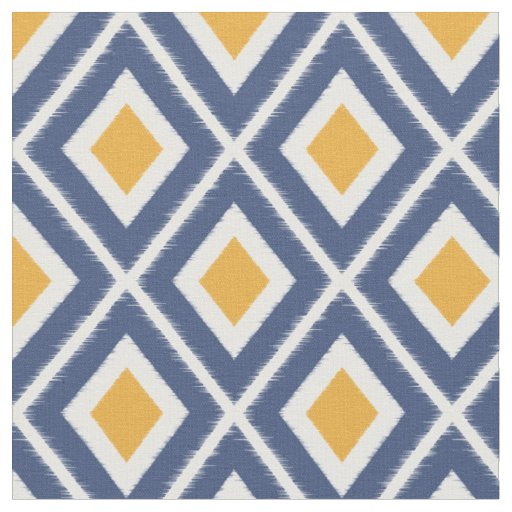 Modern Navy Blue And Mustard Yellow Ikat Pattern Fabric