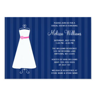 Modern Navy Blue and Pink Gown Bridal Shower Card