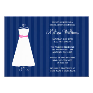 Modern Navy Blue and Pink Gown Bridal Shower Custom Invite
