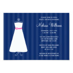Modern Navy Blue and Pink Gown Bridal Shower 5x7 Paper Invitation Card
