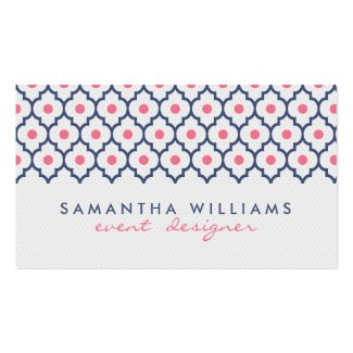 Modern Navy Blue And Pink Quatrefoil Pattern Business Card Template