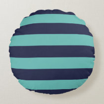Modern Navy Blue and Turquoise  Rugby Stripes Round Pillow