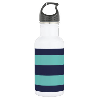 Modern Navy Blue and Turquoise  Rugby Stripes Stainless Steel Water Bottle
