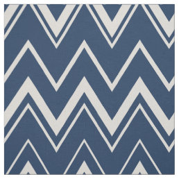 Modern navy blue and white chevron pattern fabric