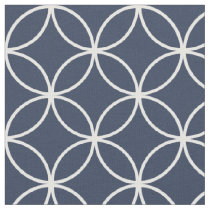 Modern Navy Blue and White Circle Diamond Pattern Fabric