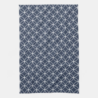 Modern Navy Blue and White Circle Diamond Pattern Hand Towels