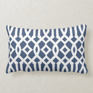 Modern Navy Blue and White Imperial Trellis Lumbar Pillow