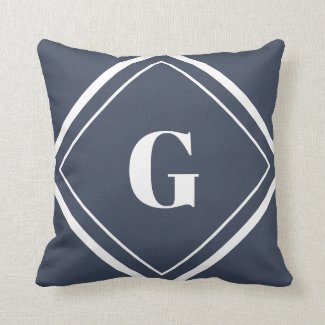 Modern Navy Blue and White Monogram Throw Pillow