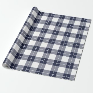 Modern Navy Blue and White Plaid Pattern Wrapping Paper
