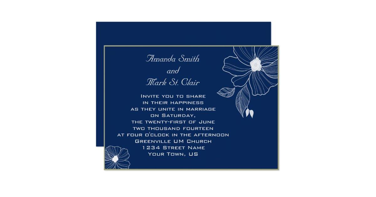Navy Blue And White Wedding Invitations: Modern Navy Blue And White Wedding Invitation