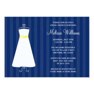 Modern Navy Blue and Yellow Gown Bridal Shower 5x7 Paper Invitation Card