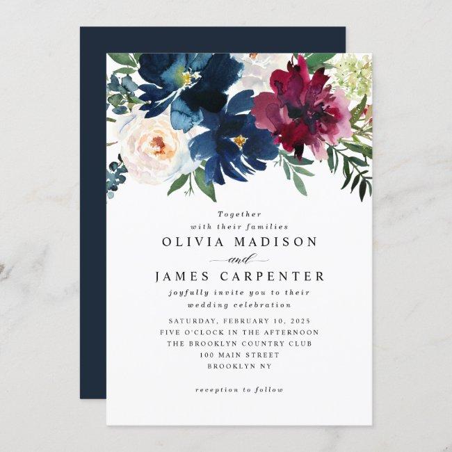 Modern Navy Blue Burgundy Floral Botanical Wedding Invitation