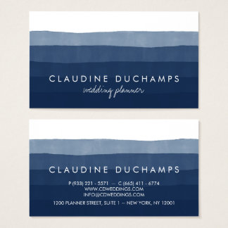 Modern navy blue elegant watercolor ombre striped business card