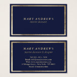Modern navy blue faux gold interior designer business card