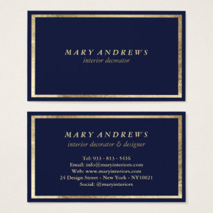 Navy blue business cards templates zazzle modern navy blue faux gold interior designer business card colourmoves Gallery