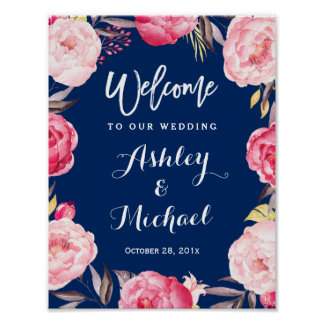 Modern Navy Blue Floral Wreath Wedding Sign
