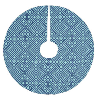 Modern Navy Blue Geometric Pattern Brushed Polyester Tree Skirt