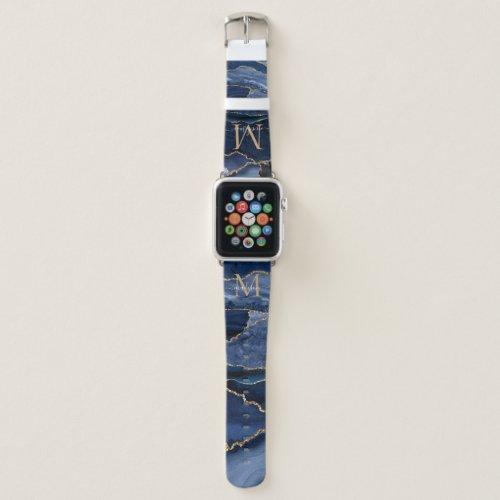 Modern Navy Blue Gold Agate Geode Girly Monogram Apple Watch Band