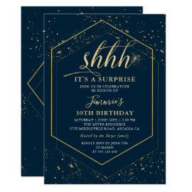 Modern Navy Blue Gold Geometric Surprise Birthday Invitation
