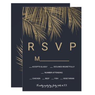 Beach Themed Modern navy blue gold palm tree RSVP wedding Card