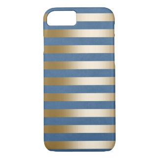 Modern Navy Blue Gold Stripes iPhone 7 Case