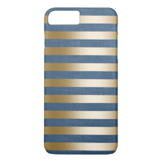 Modern Navy Blue Gold Stripes iPhone 7 Plus Case