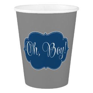 Modern Navy Blue Gray Boy Baby Shower Paper Cup