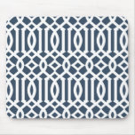 Modern Navy Blue Imperial Trellis Pattern Mouse Pad