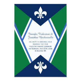 Modern Navy Blue Kelly Green Post Wedding 5x7 Paper Invitation Card