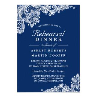 Modern Navy Blue Lace Wedding Rehearsal Dinner Invitation
