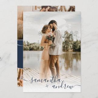 Modern navy blue minimalist script photos wedding invitation
