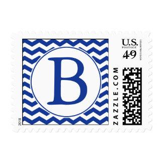 Modern Navy Blue Monogrammed Postage Stamp