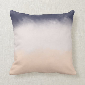 Modern Navy Blue Peach Watercolor Block Stripes Throw Pillow