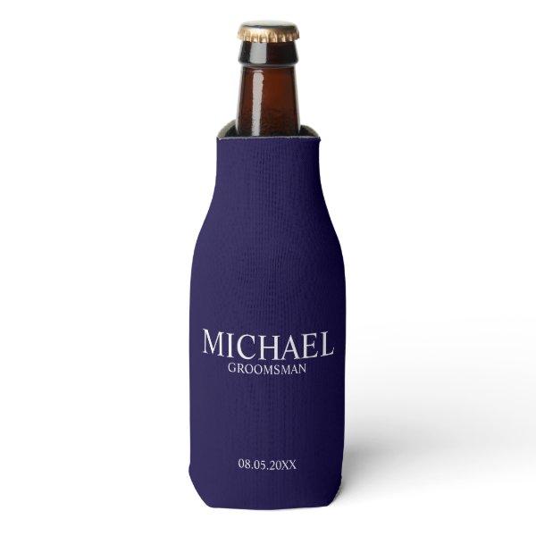 Modern Navy Blue Personalized Groomsman Bottle Cooler
