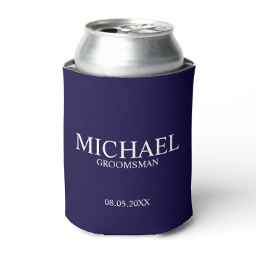 Beach Themed Modern Navy Blue Personalized Groomsman Can Cooler