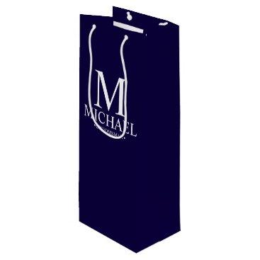 Beach Themed Modern Navy Blue Personalized Groomsman Wine Gift Bag
