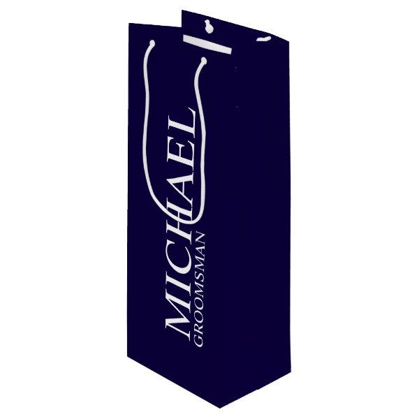 Modern Navy Blue Personalized Groomsman Wine Gift Bag
