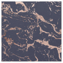 Modern navy blue rose gold marble pattern fabric