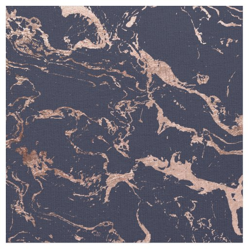Modern navy blue rose gold marble pattern fabric | Zazzle.com