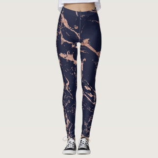 Modern navy blue rose gold marble pattern leggings