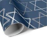 """Modern Navy Blue Silver Star of David Minimalist Wrapping Paper<br><div class=""""desc"""">Minimal classic silver Bar/Bat Mitzvah and Hanukkah modern Star of David against a solid background creates an elegant,  sophisticated design. For other coordinating colors or matching products,  visit JustFharryn @ Zazzle.com or contact the designer,  c/o Fharryn@yahoo.com  All rights reserved. #zazzlemade #christmasdecor</div>"""