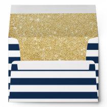 Modern Navy Blue Stripes Elegant Gold Glitter Envelope