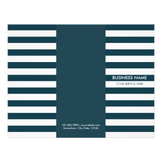 Modern Navy Blue Stripes Tri-Fold Brochures