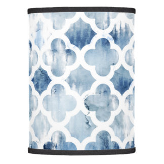 Modern navy blue tie dye watercolor guatrefoil lamp shade
