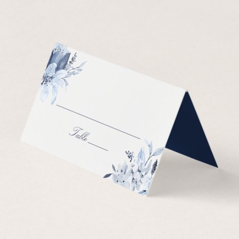Modern Navy Blue Watercolor Floral Place Card