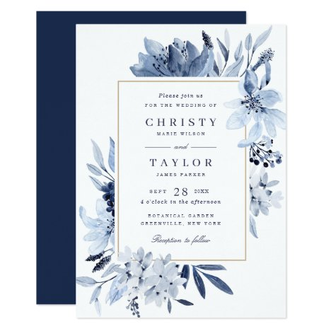 Modern Navy Blue Watercolor Floral Wedding Invitation