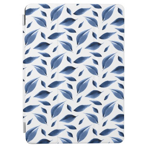 Modern Navy Blue Watercolor Leaves Pattern iPad Air Cover