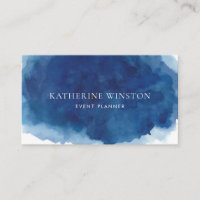Modern Navy Blue Watercolor Splash Background Business Card