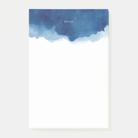 Modern Navy Blue Watercolor Splash Personalized Post-it Notes